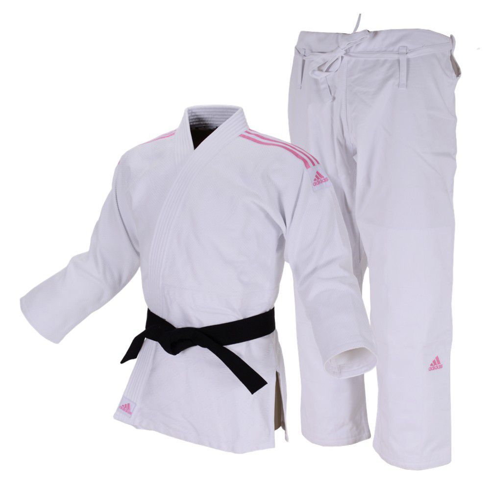 Kimono JudôJ690 Quest Branco com Faixas Rosa 160 Adidas
