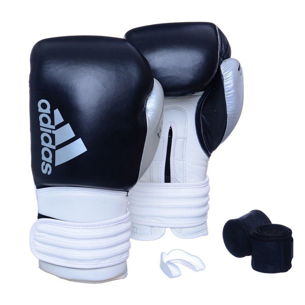 Kit Luva Boxe Hybrid 300 com Bandagem e Bucal 10 Oz Adidas