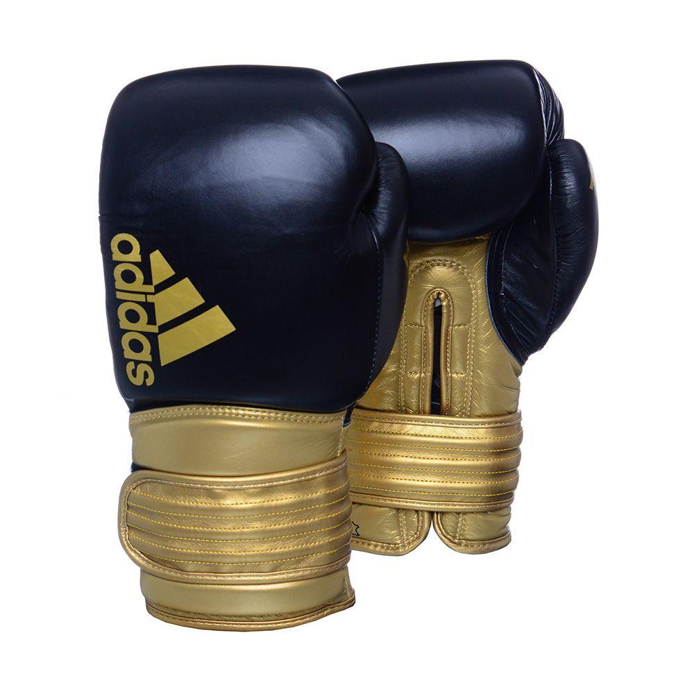 Kit Luva Boxe Hybrid 300 Preto e Dourado 12 Oz Adidas