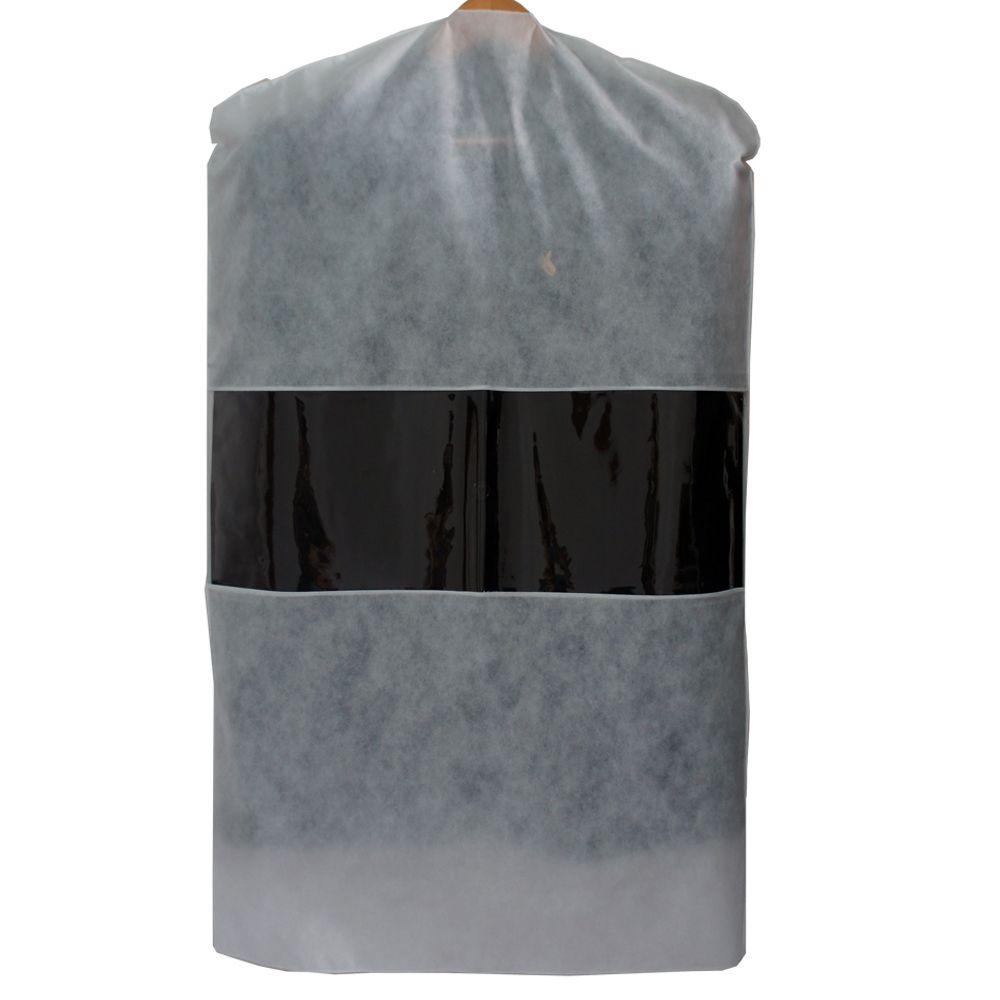 Capa para Terno TNT com Visor de PVC 1,00 x 60 cm Branca Lavável 60 Peças