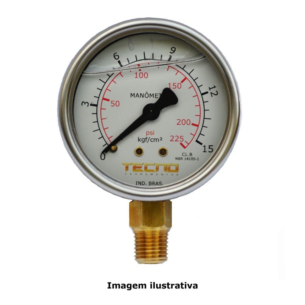 Manômetro Mostrador Ø63mm Com Glicerina Escala 0 A 15kgf/cm² Reto Rosca De 1/4´´npt Tecno Tecn-550.63r15