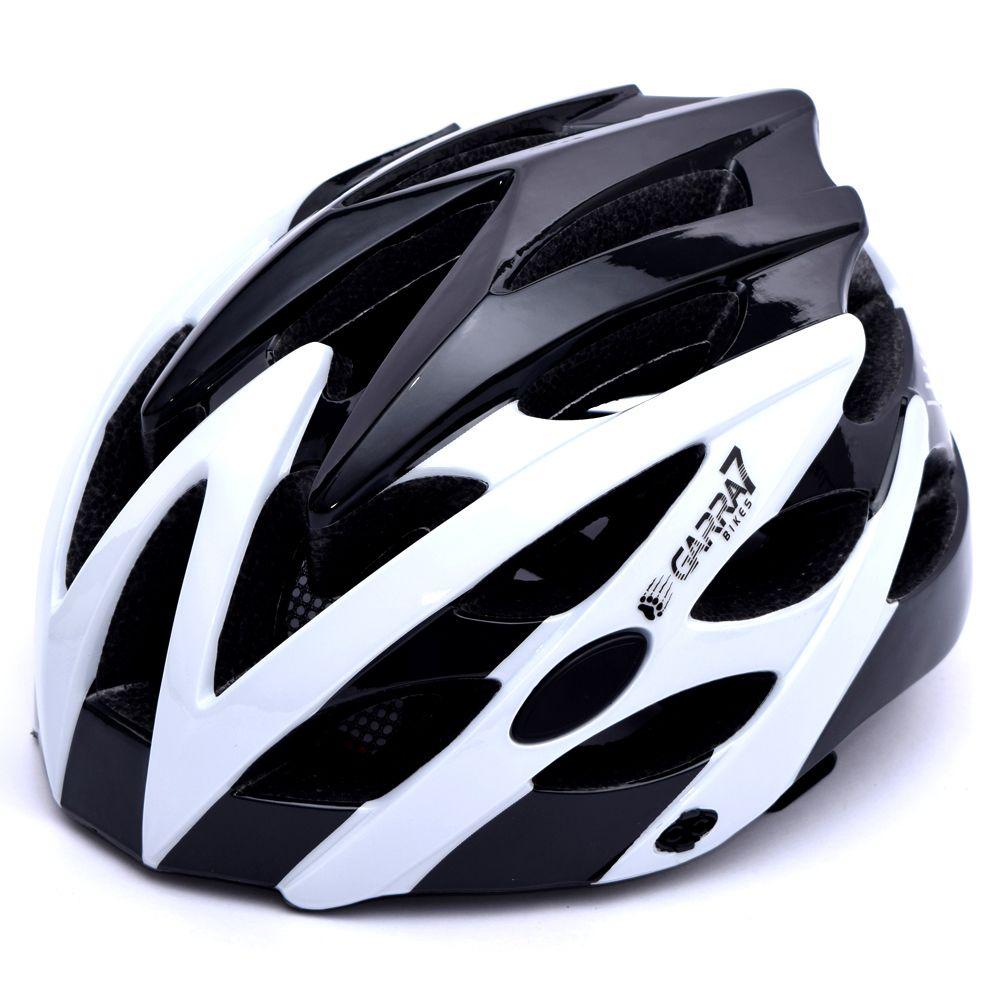Capacete Bike Tamanho Ajustável Branco e Preto Garra7