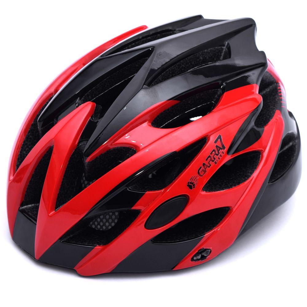 Capacete Bike Tamanho Ajustável Vermelho e Preto Garra7