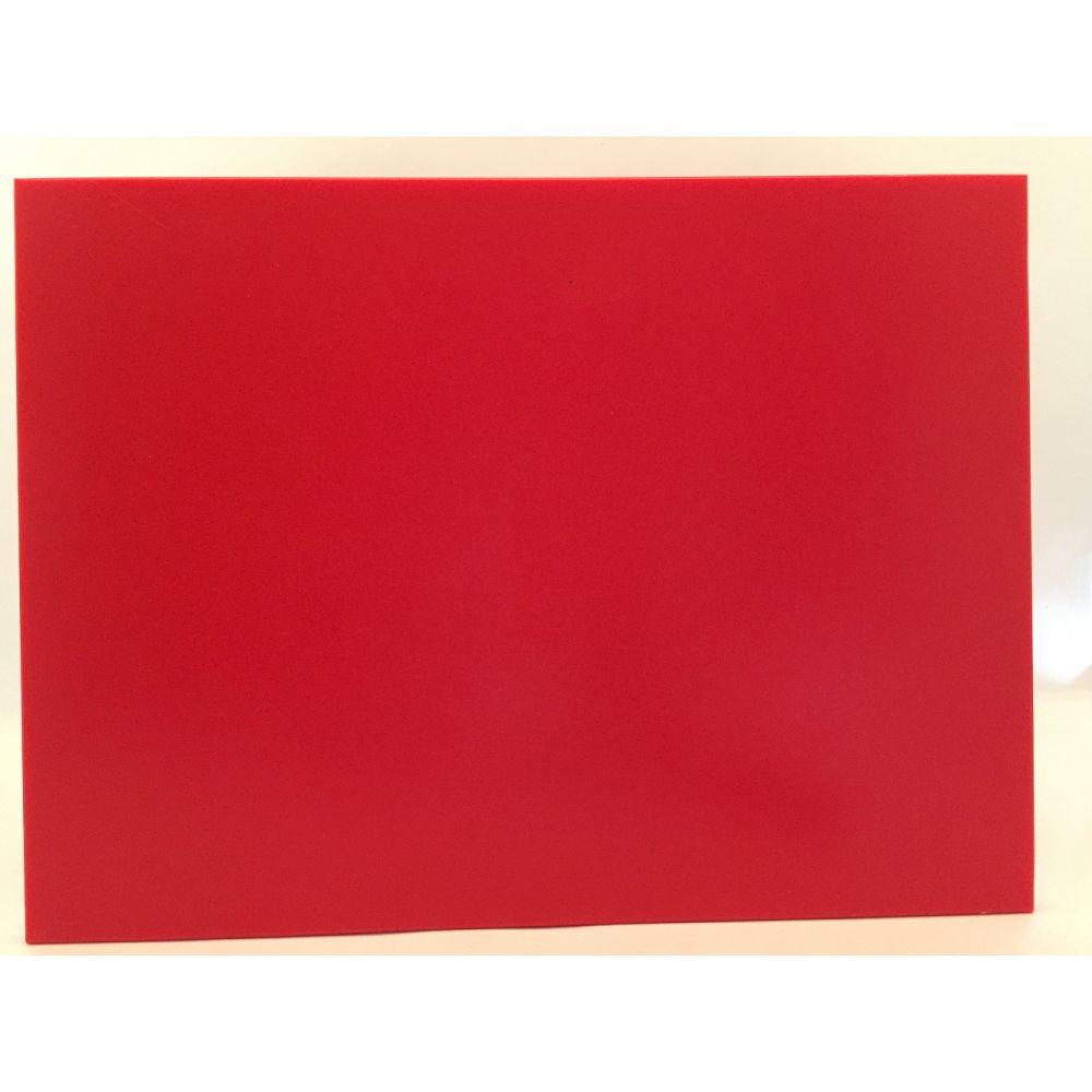 Tábua de Corte Lisa em Polietileno Vermelha 33 x 25 Cheff Plast Gourmet