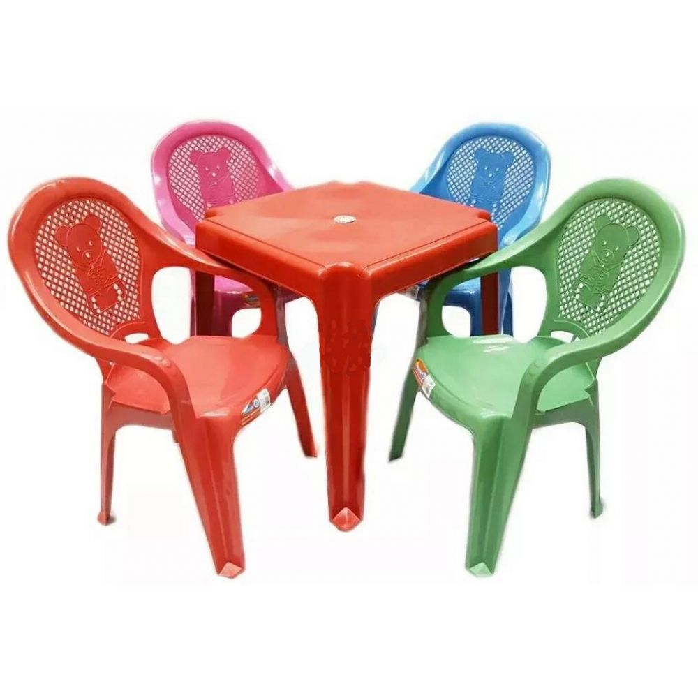 Conjunto Mesa Ver. 4 Cadeiras Infantil Colorida Antares