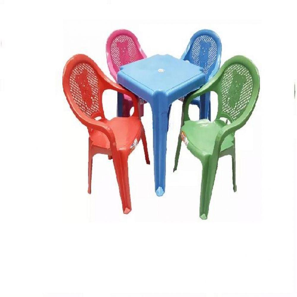 10 Conjunto Mesa Azul 4 Cadeiras Infantil Colorida Antares