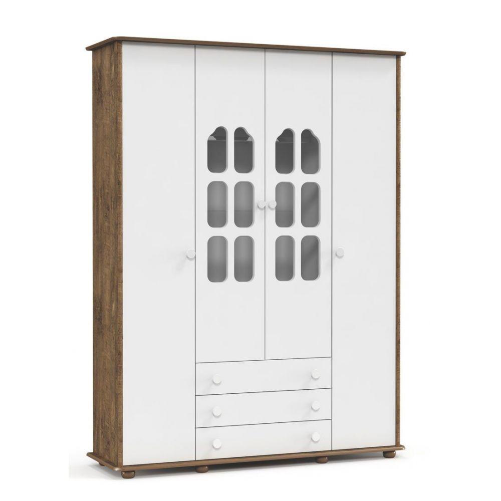 Guarda-roupa Amore 4 Portas Branco Soft com Teka Matic Móveis