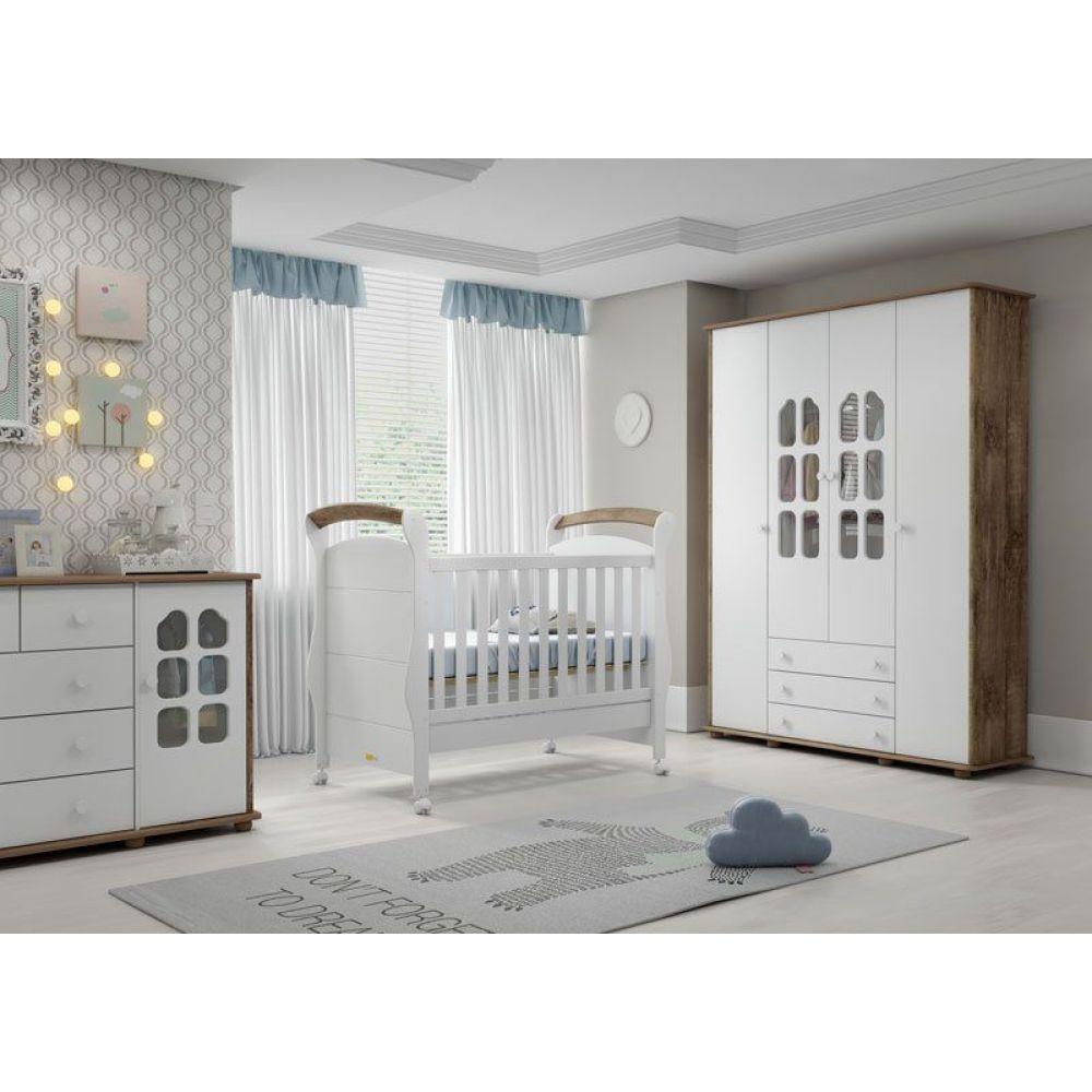 Quarto de Bebê Completo Amore 4 Portas Plus Branco Soft com Teka Matic Móveis